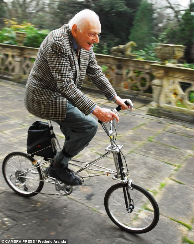 Dr Alex Moulton CBE , who invented Moulton bicycles, photographed at home in his estate in Bradford on Avon. aged 92.
