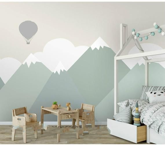 Photo of Hand painted green geometric nursery kids wallpaper wall mural, geometric mountain kid kids wall mural wall decor