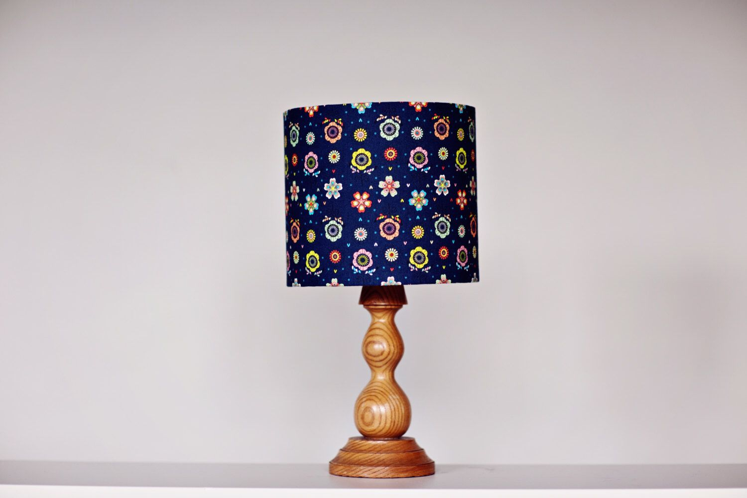 Navy Blue Lamp Shade Floral Lampshade Navy Blue Decor Bedside Lamp Home Office Mothers Day Gift Handmade Lamps Blue Lamp Shade Floral Lampshade Blue Lamp