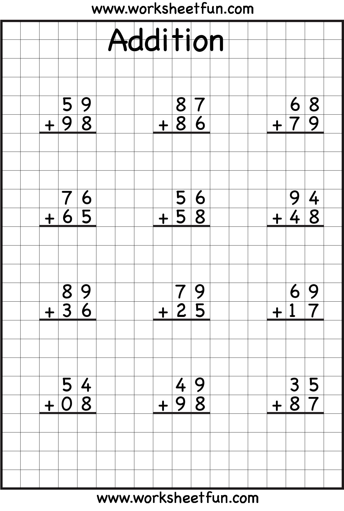 5 Free Math Worksheets Third Grade 3 Addition Add 3 3
