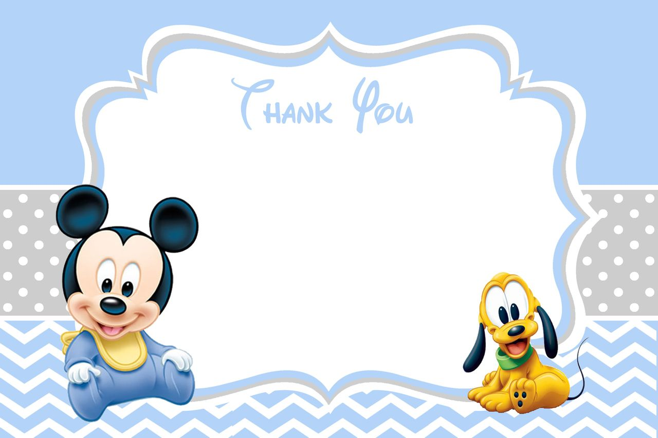 Baby Mickey Mouse Baby Shower Thank You Card | Mickey ...