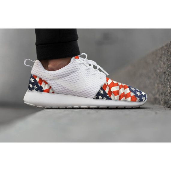 purchase cheap cf430 1e2f4 New Nike Roshe Run Custom Red White Blue American Flag Edition Mens Shoes  Sizes 8 - 13