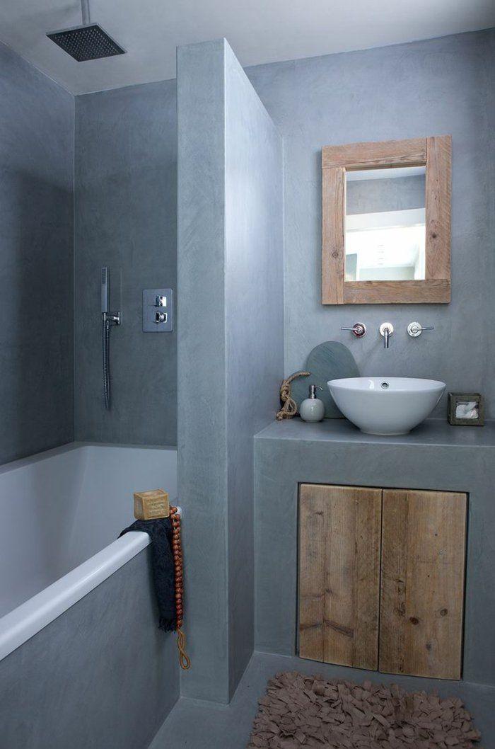 1-amenager-petite-salle-de-bain-avec-murs-gris-meubles-dans-la-salle - amenagement de petite salle de bain