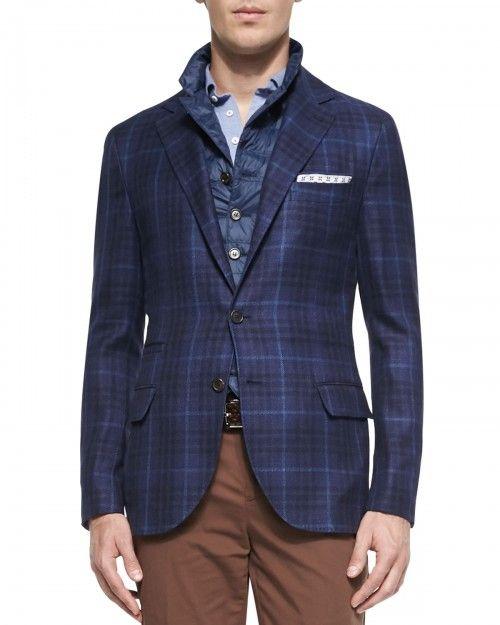 Brunello Cucinelli Men's Woven Check Sport Coat Navy Navy 54 | Clothing