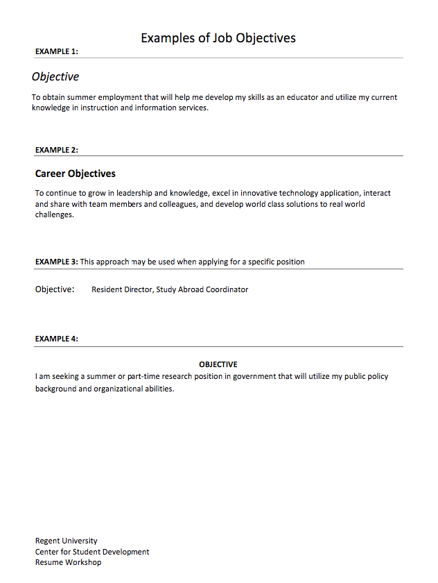 This Example Example Of Job Objectives We Will Give You A Refence Start On  Building Resume.you Can Optimized This Example Resume On Creating Resume  For Your ...  What Is Job Objective