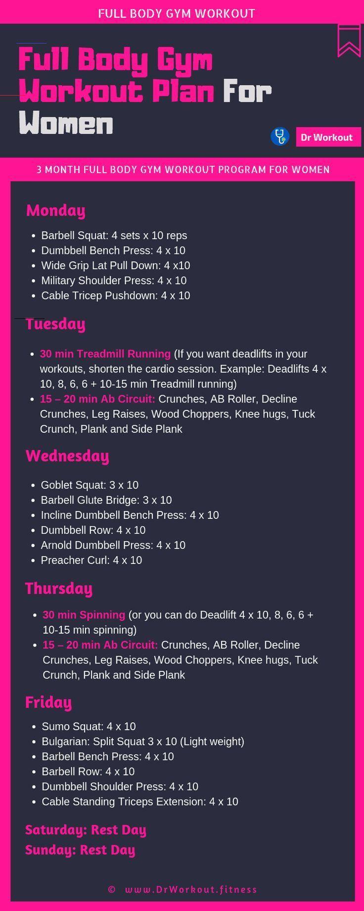 Full Body Gym Workout Plan For Women #fullbody Full Body Gym Workout Plan For Women #workout #workou...