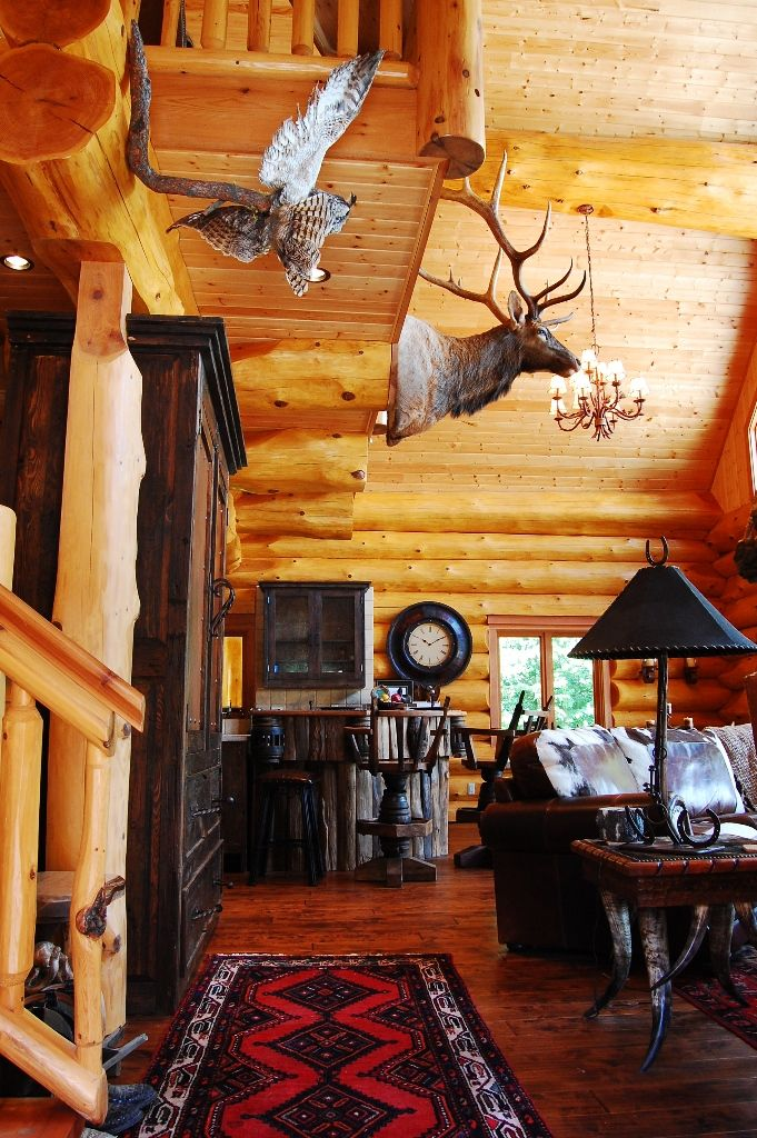 Squanga lake full scribe log home interior also best magic images on pinterest decor design rh