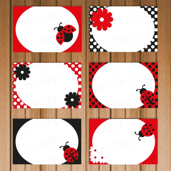 Ladybug Printable Folding Buffet Cards, Instant Download