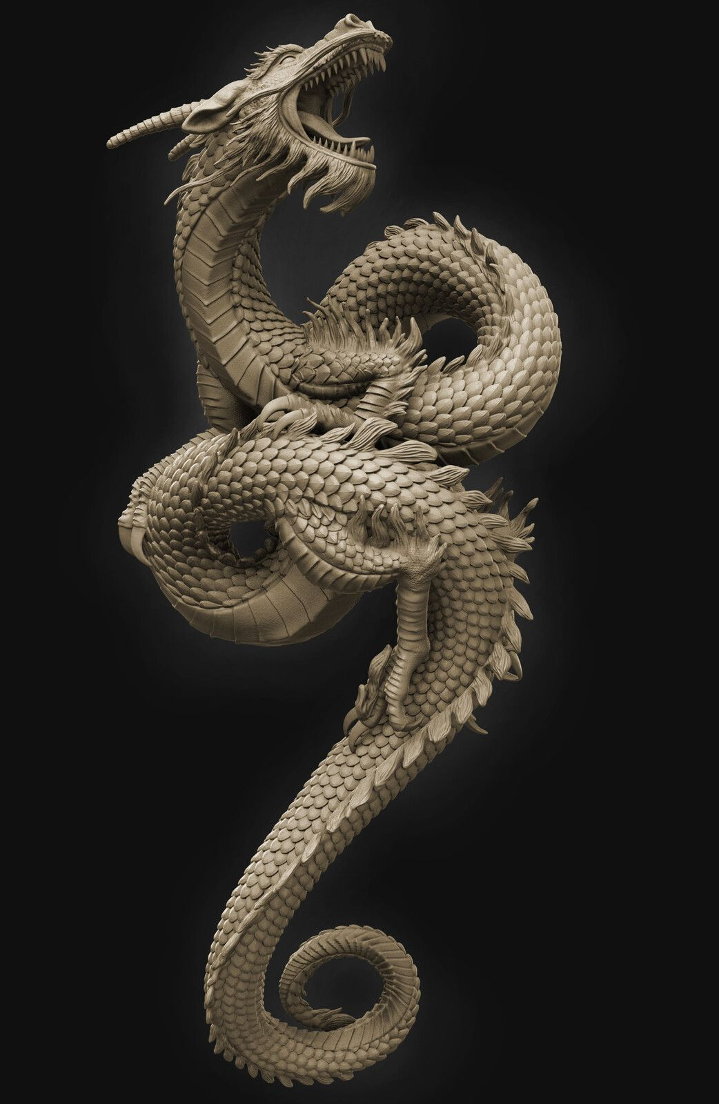 Chinese Dragon for 3D printing, pankaj kumar on ArtStation