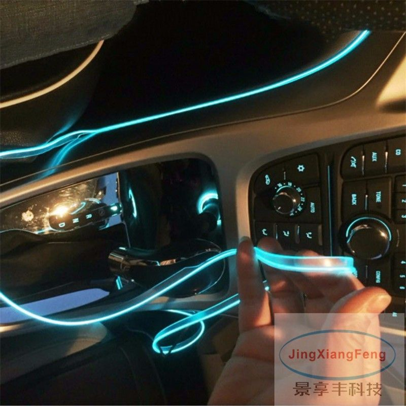 1M LED Flexible Neon Light Glow EL Wire Car Moto Decorative Lights ...