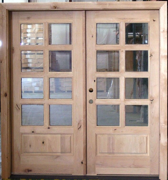 Exterior Double Door 8 Lite Knotty Alder Exterior And Doors