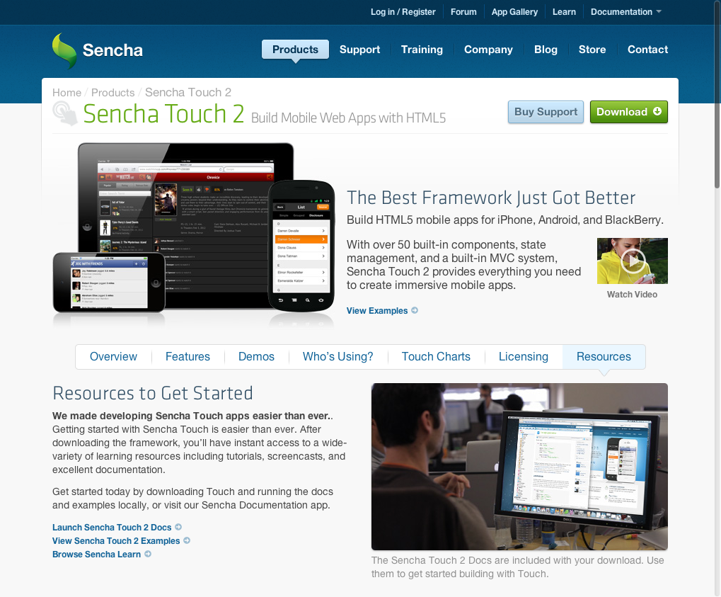 Sencha home page. Train companies