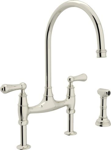 Rohl U4718/U4719 Perrin  Rowe Bridge Faucet with Sidespray - mitigeur cuisine avec douchette extractible