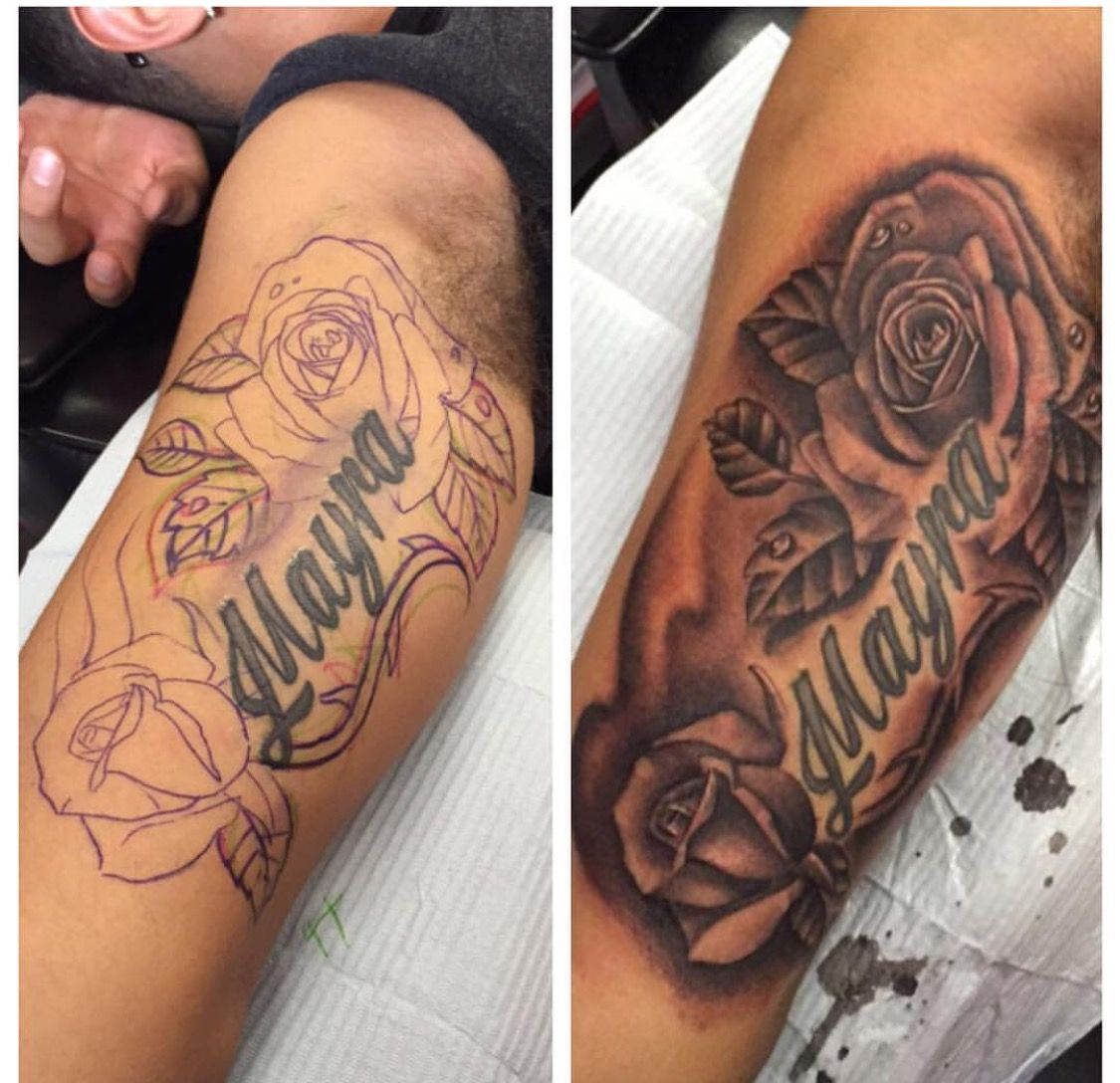 Rose Watch And Names Tattoo Rose Tattoo With Name Name Tattoos Tattoos