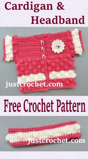 Cardigan and headband, free baby crochet pattern. #crochet   Crochet ...