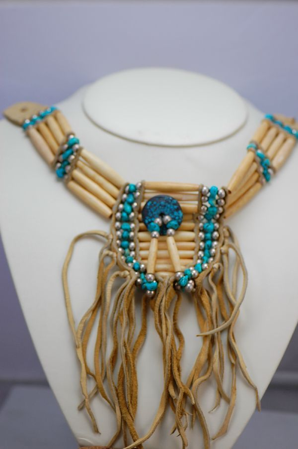 Cherokee bone choker traditional cherokee bone choker for How to make american indian jewelry