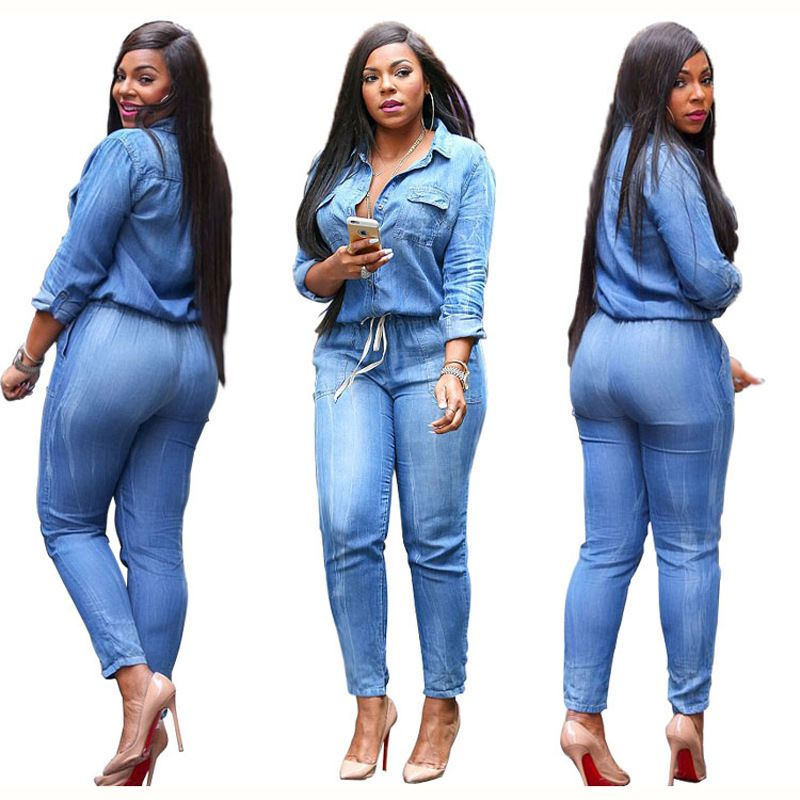 7144c35e9e54 USA Stock Casual Women s Bodycon Jumpsuit Jeans Denim Rompers Overalls  Trousers Pants Plus Size S 3XL USPS To USA Quick Get-in Jumpsuits from  Women s ...