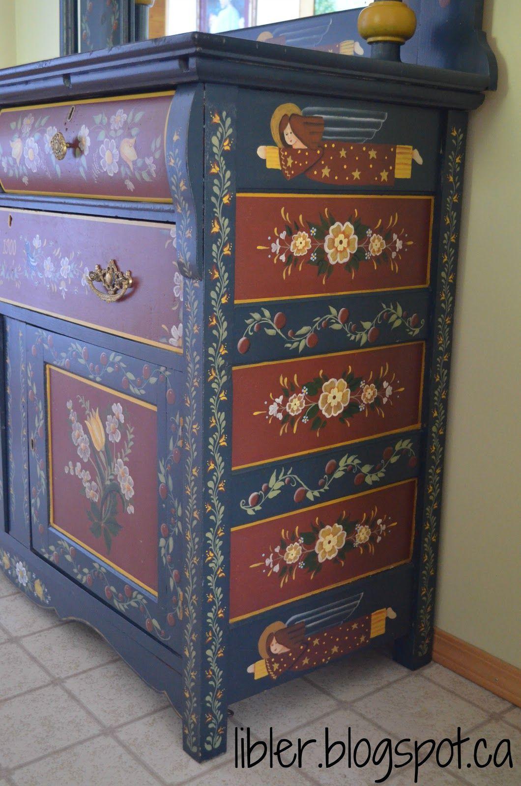 Folk Art Painted Buffet Macgirlver Furniture