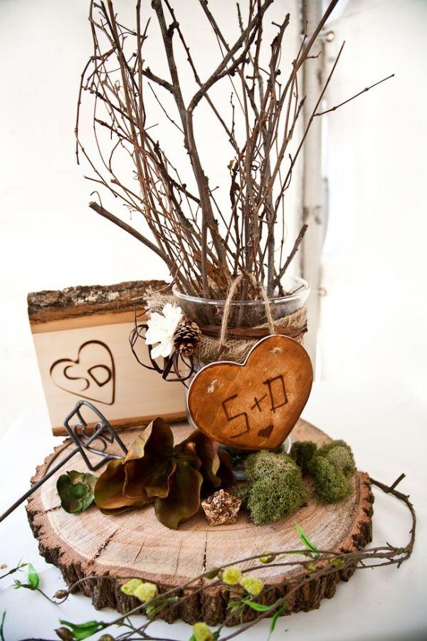 Wood themed centerpiece initials stylin