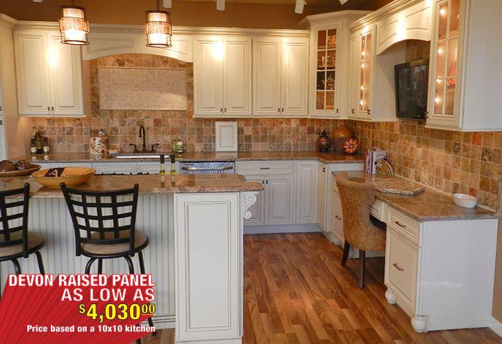 Best Devon Raised Panel Cream White Kitchen Cabinets Main Image 400 x 300