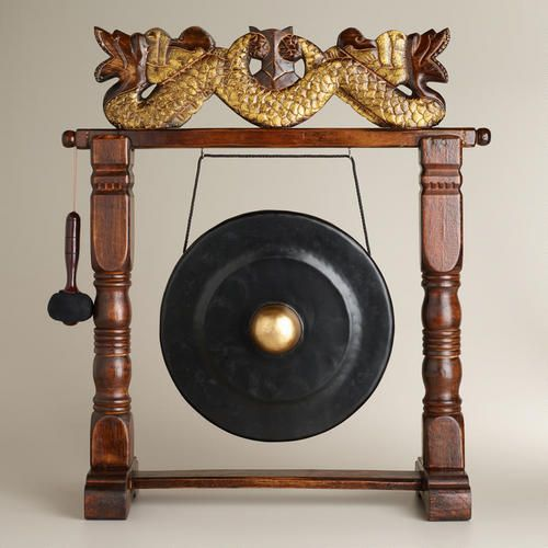 Large Wooden Indonesian Gong Cool