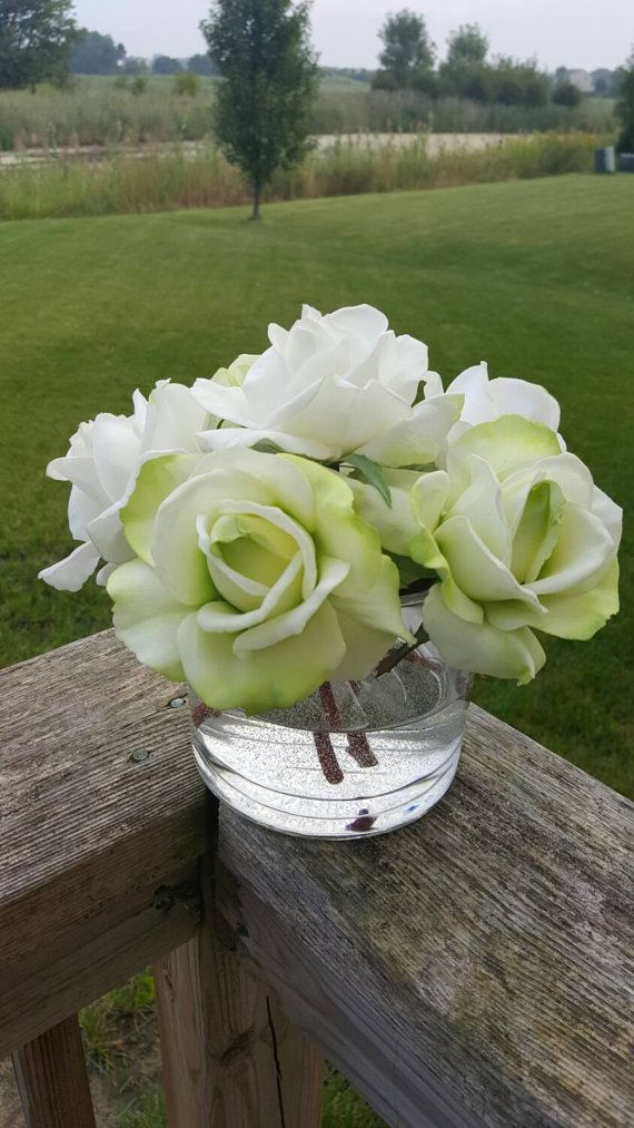 White & Lime Green Roses Realistic Touch in by ChicagoSilkFlorist