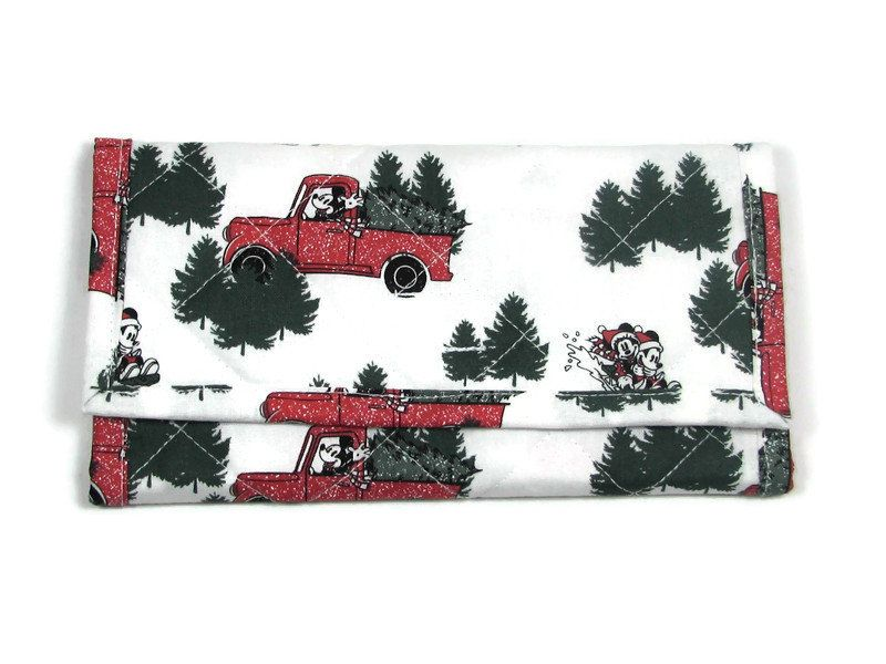 Mickey Mouse Christmas Wallet Red Truck Quilted Trifold Fabric Women's Zipper Pocket Gift for Her #walletsforwomen