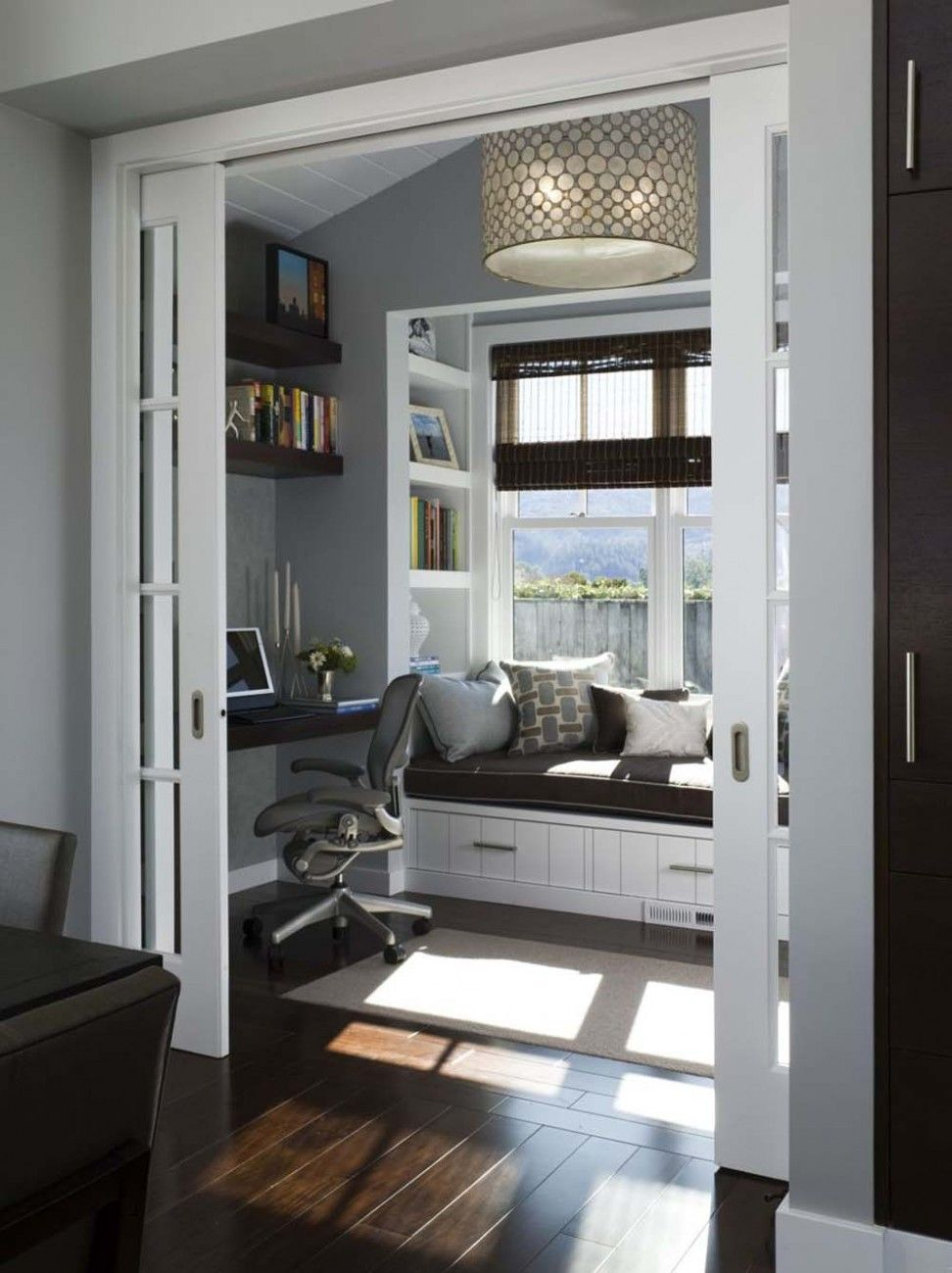 Elegant Modern Home Interior Office Design Ideas Feature Awesome Black Mahogany Solid Floating