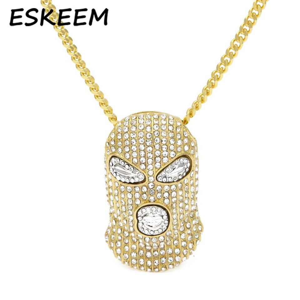 b5a58ab9ff81f Iced Out Hip-hop Jewelry Cuban Link Chain Diamond Goon Ski Mask Man ...
