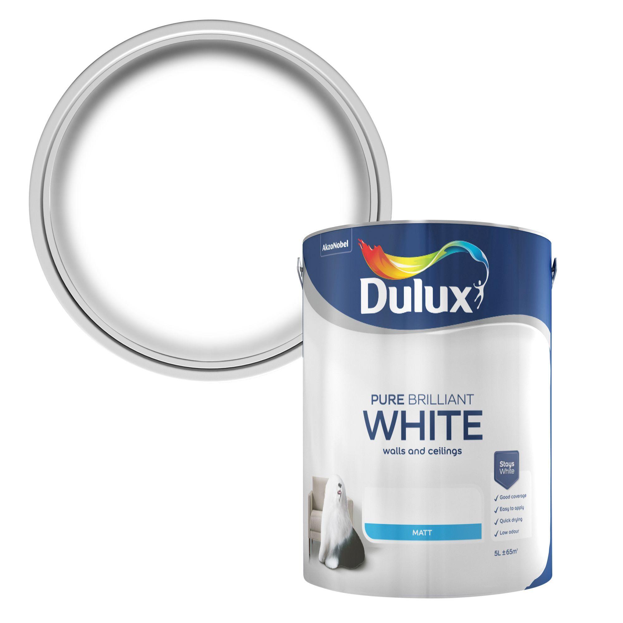 Dulux Pure Brilliant White Matt Emulsion Paint 5L B&Q