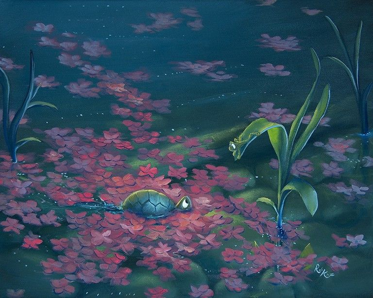 "ROB KAZ Petals - he is such a talented man; I have one of his giclees on order from the art auction on my recent cruise - can't wait to get it - Called ""StandOff"" featuring Beau and another creature - whimsical and fun."