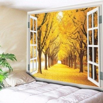 Window Scenery Trees Print Wall Hanging Tapestry | Tree print ...