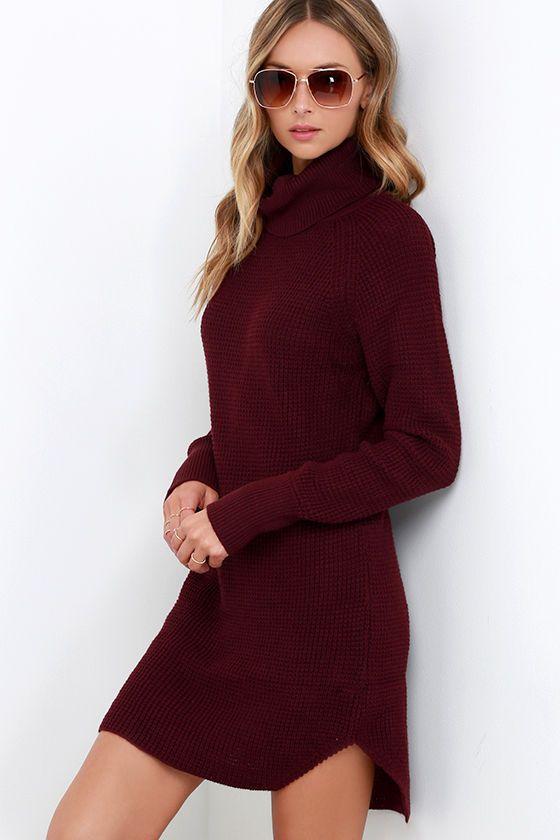 Once Smitten Burgundy Turtleneck Sweater Dress at Lulus.com 4bd926571