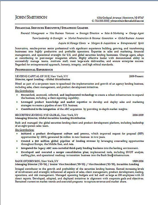 Financial Executive Resume Example Pinterest Executive resume