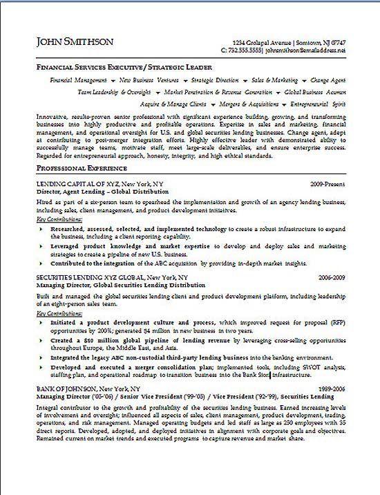 Financial Executive Resume Examples Executive Resume