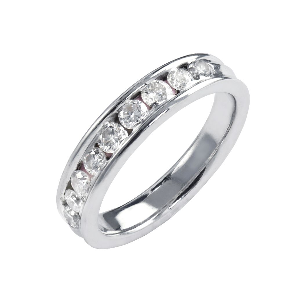 Beautiful and Wonderful Engagement eternity band with round brilliant cut diamonds set in channel setting. This piece is proudly crafted in the USA.