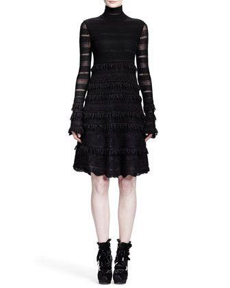 Alexander McQueen Sheer Patchwork-Lace Stripe Dress