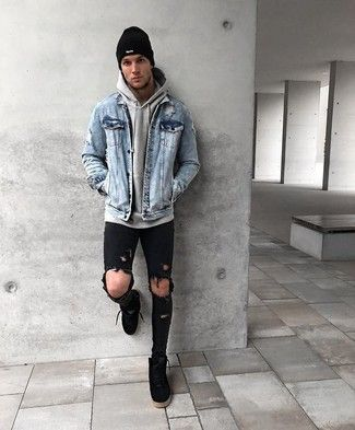 Photo of denim jacket with hoodie