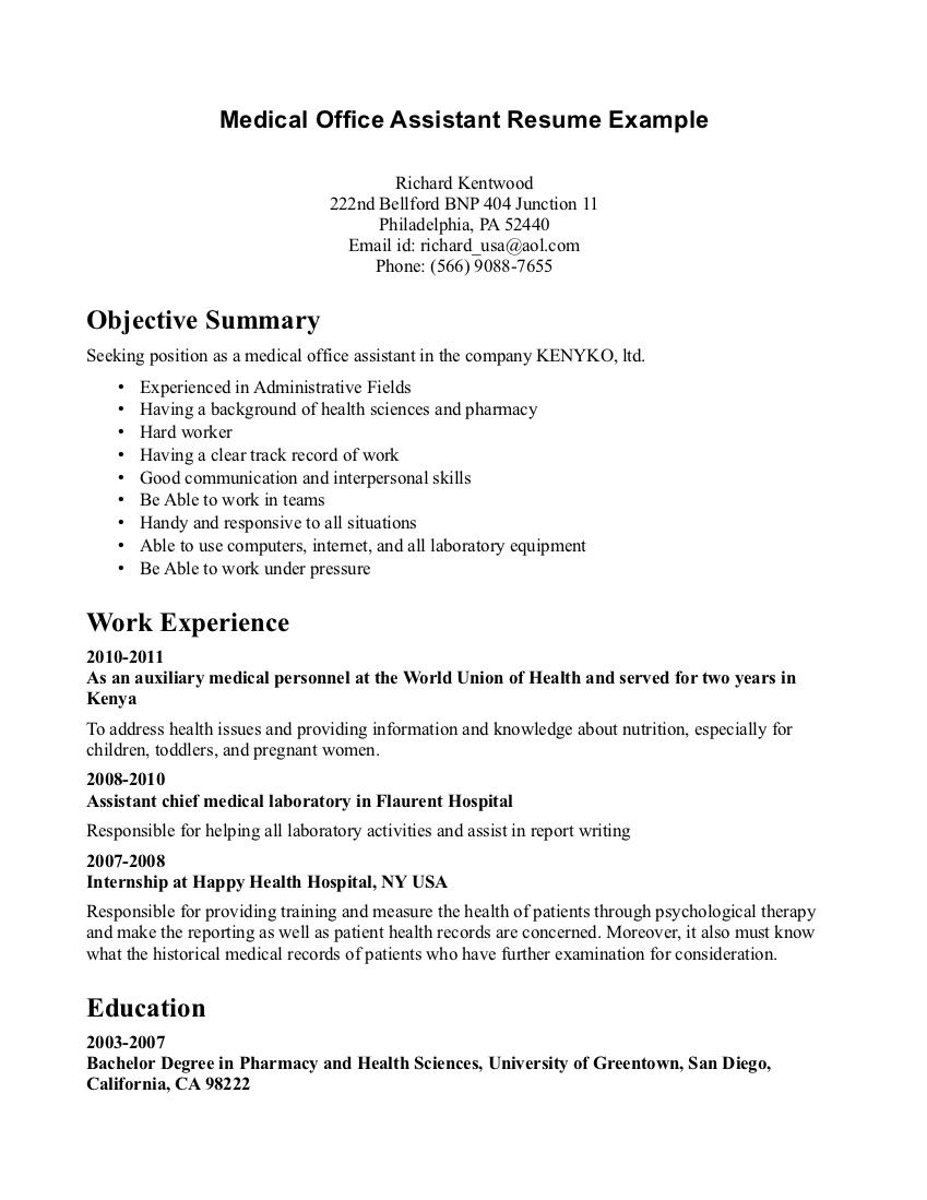 Free Examples Of Resumes Medicalofficeassistantresumeexampleresumesofmedical
