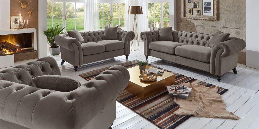 Couchgarnitur 3 2 1 Sitzer Chesterfield Sofa Mona Barock Stil Geschwungene Armlehne Stone Chesterfield Sofa Chesterfield Mobel Couch