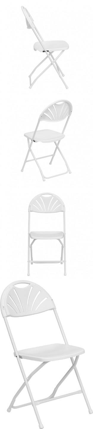 HERCULES Series 800 lb Capacity White Plastic Fan Back Folding