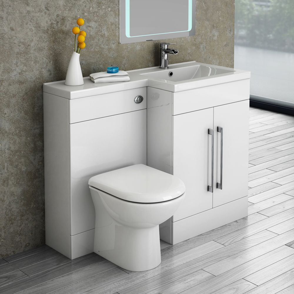 Valencia 1100mm combination bathroom suite unit with basin for Tiny space bathrooms