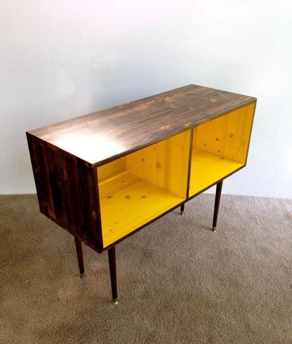 mid century modern record cabinet media table tv stand cabinet mcm yellow and chocolate