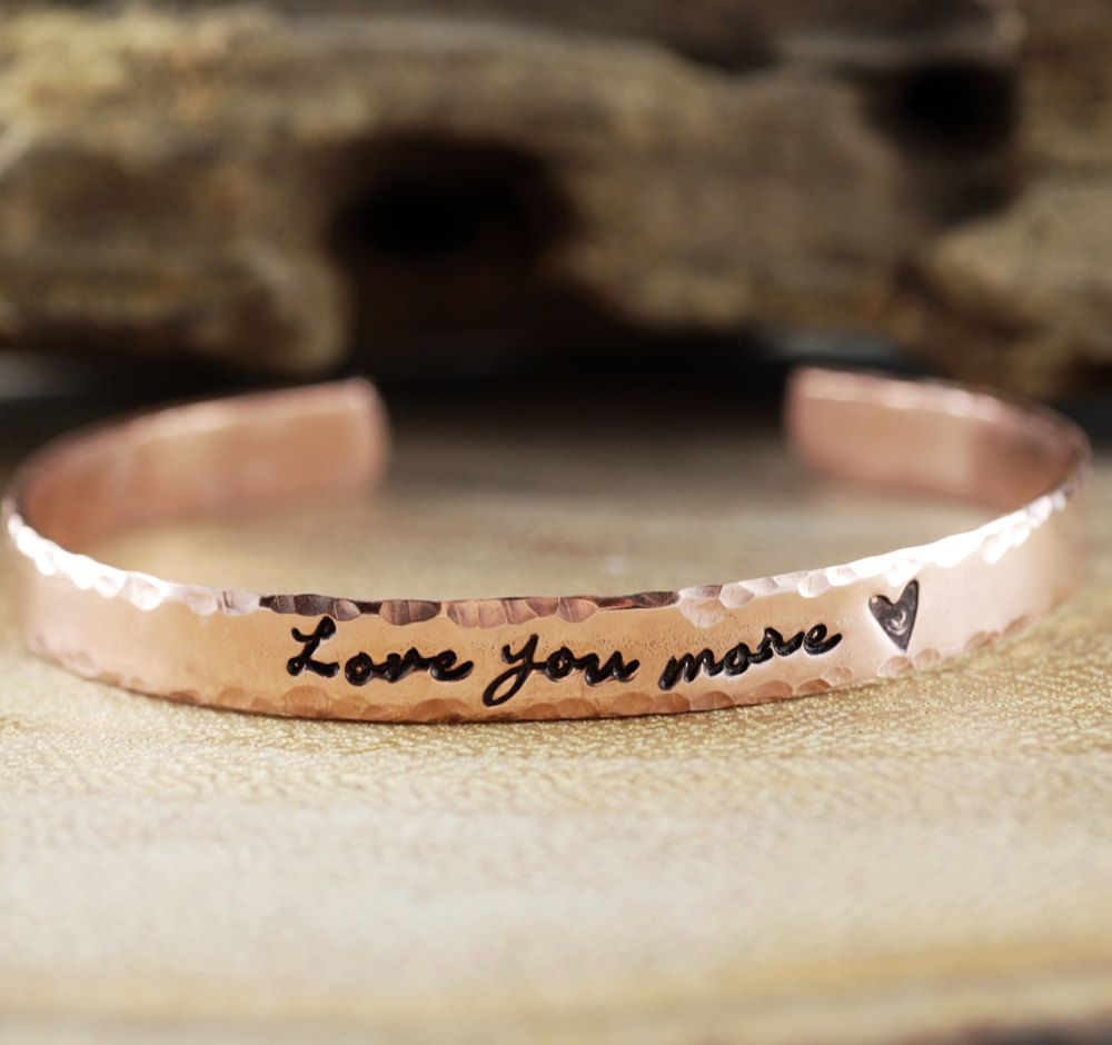 3730fe16a57 Love you more Cuff Bracelet, Personalized Bracelets, Custom Cuff Bracelets,  Hand Stamped Cuff, Mantra Bands, Affirmation Jewelry by AnnieRehJewelry on  Etsy