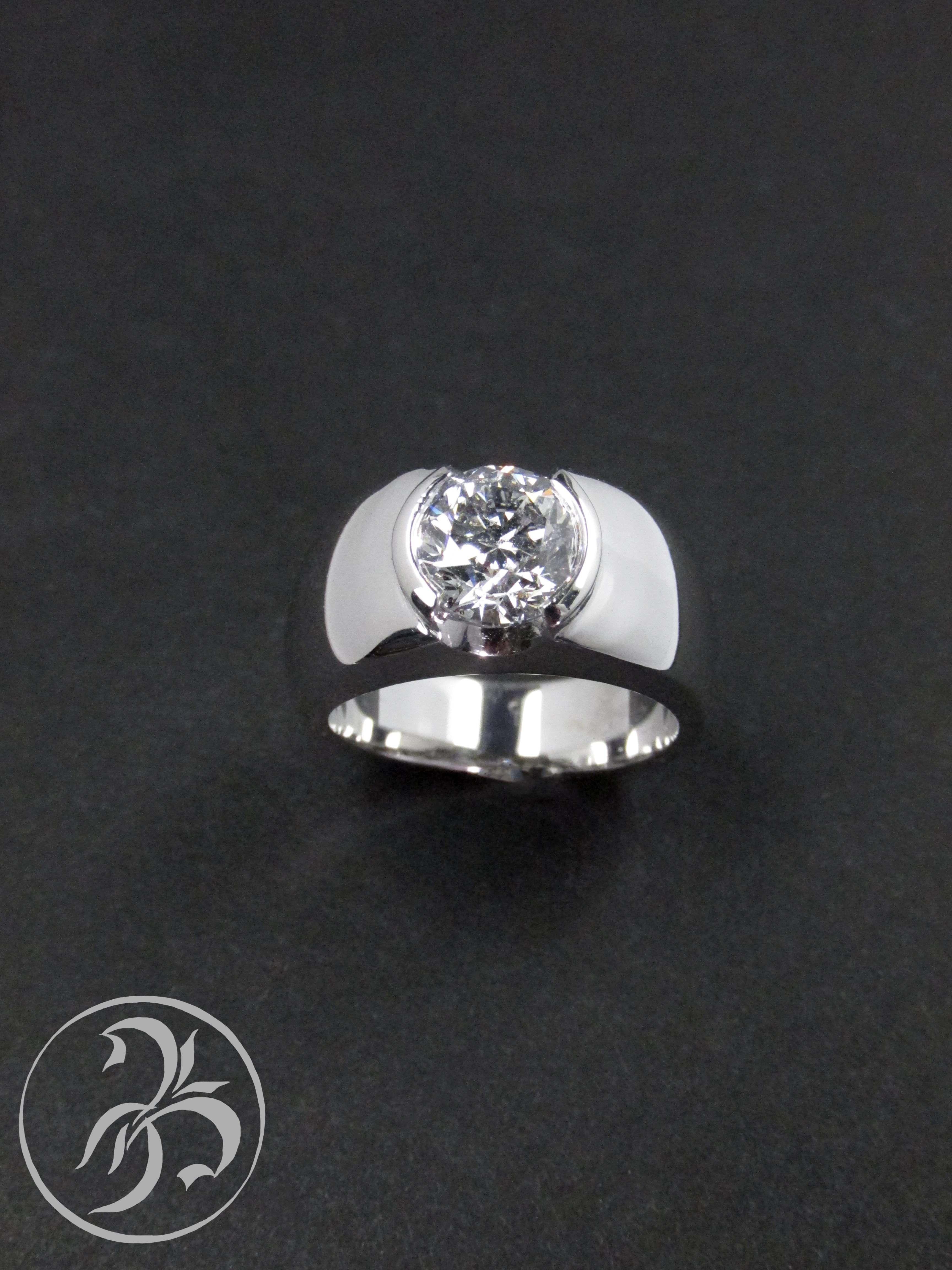 Wide band engagement ring with bezel set diamond 180 carat round