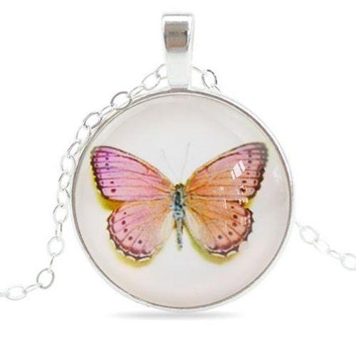 Perhonen kaulakoru - Vaaleanpunainen