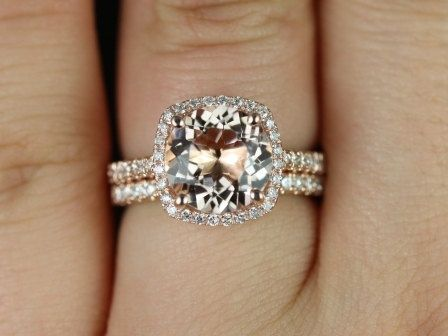Future Husband This Is My Ring Rose Gold Engagement Halo Peachy Pink Morganite Cushion Cut Gem With A Wedding Band Instead Of Diamonds