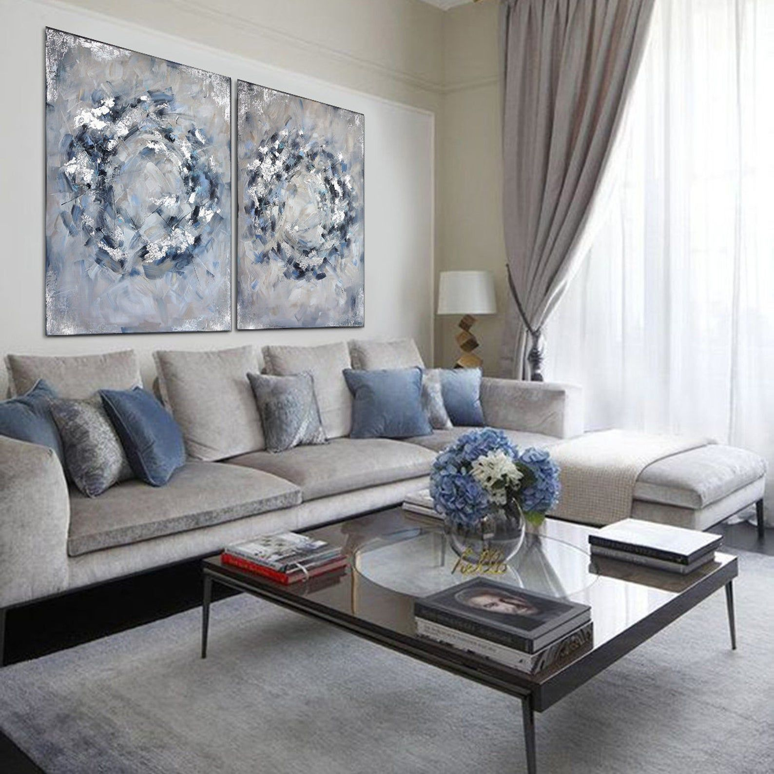 Infinity Circles In Blue Grey Large Grey And Silver Abstract Etsy Blue Living Room Decor Living Room Decor Gray Silver Living Room Silver blue paint living room