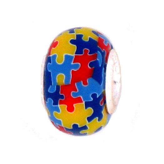 Autism Charms For Pandora Bracelets: Autism Awareness Jewelry Bead For AddABead Charm By