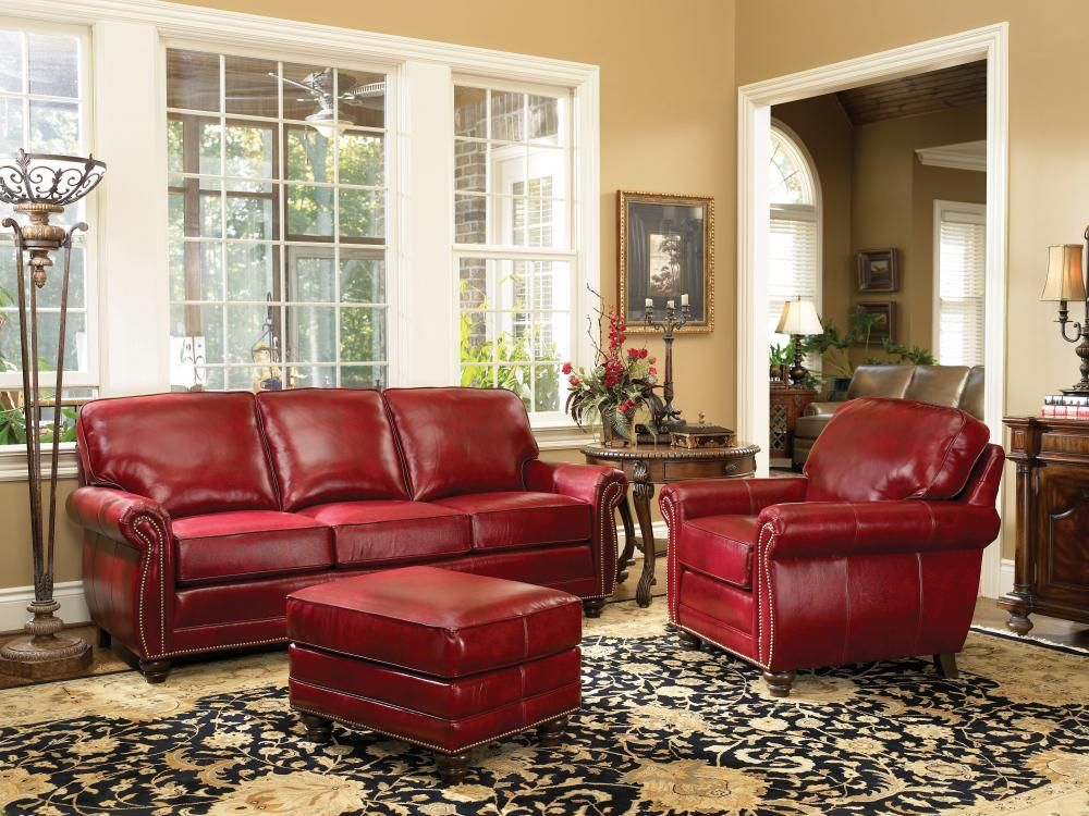 Red leather living room furniture Modern Love This Red Leather Sofa And Chair By Smith Brothers special Order Pinterest Love This Red Leather Sofa And Chair By Smith Brothers special
